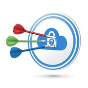 online privacy concept target with darts hitting on it - stock illustration