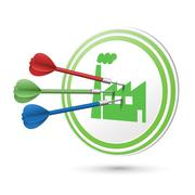 Industrial building icon target with darts hitting on it Stock Illustration