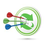 Recycle concept target with darts hitting on it Stock Illustration