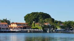 Luxury waterfront homes Miami Beach Stock Footage
