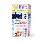 Advertise word on product box Stock Illustration