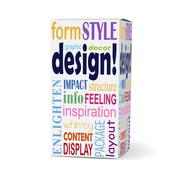 design word on product box - stock illustration