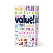 value word on product box - stock illustration