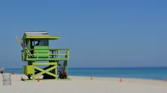 Lifeguard tower tilt shift 4k - stock footage