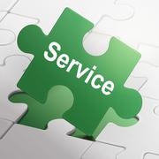 Service word on green puzzle pieces Stock Illustration