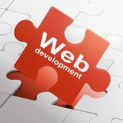 Web development on red puzzle pieces Stock Illustration