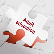 adult education on white puzzle pieces - stock illustration