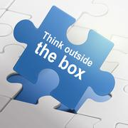 think outside the box on blue puzzle pieces - stock illustration