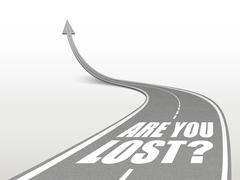 Are you lost words on highway road Stock Illustration
