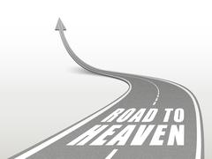road to heaven words on highway road - stock illustration