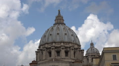 Rome Italy Vatican St Peters Basilica dome moving clouds 4K 029 Stock Footage