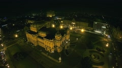 4K Marshal Tito Square with Croatian national theater in Zagreb - aerial Stock Footage