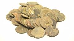 Pennies Found In Metal Detecting Stock Footage