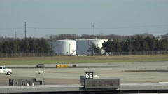 Fuel Storage Tanks, Airplane Landing Stock Footage