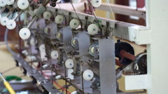 Textile machine in working manner Stock Footage