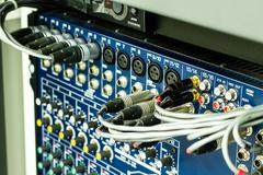 audio connectors on a sound mixer - stock photo