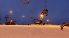 People having fun in ski resort. Time lapse Stock Footage