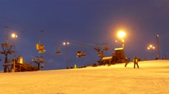 People having fun in ski resort. Moscow region Stock Footage