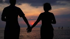 Couple in Love at Sunset - Honeymoon, Family, Vacation Stock Footage