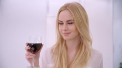 Adorable Blond Woman Rising Her Glass Stock Footage