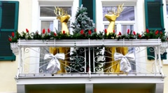 Small hotel in Christmas attire 10 Stock Footage