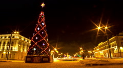 Christmas tree on Suvorov Square.St. Petersburg. Russia. timelapse - stock footage