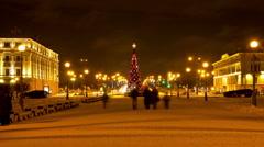 Christmas tree on Suvorov Square.St. Petersburg. Russia. timelapse Stock Footage