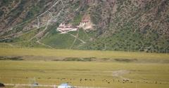 4k Tibetan village & temple on the foot of Danggula(Tanggula) Mountains,tibet. Stock Footage
