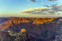 colorful sunset at grand canyon seen from mathers point, south rim - stock photo