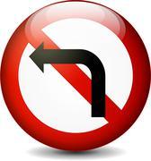 no left turn sign - stock illustration