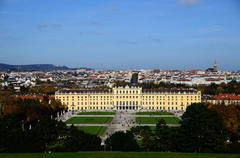 schoenbrunn palace with garden in vienna - stock photo