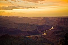 colorful sunset at grand canyon - stock photo