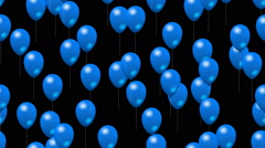 Party blue balloons generated seamless loop video with alpha matte Stock Footage