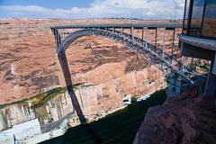 Bridge spans the the colorado at glen canyon dam near page Stock Photos