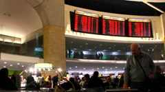 Passengers in the main waiting hall. Ben Gurion Airport. Tel Aviv Stock Footage