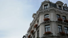Beautiful Shot of a Building Facade in Brussels Stock Footage