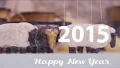 2015 New year. Ceramic sheep statuettes. Stock Footage
