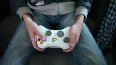 Young boy with X-Box controller - stock footage
