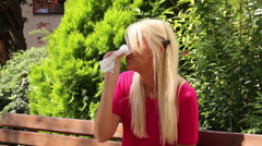 Stock Video Footage of Blonde Young Woman Pollen Allergy