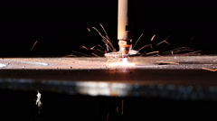 Heavy industry - The industrial laser cuts a metal sheet Stock Footage