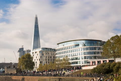 4K and 1080 HD timelapse of the Shard business building in the city of London Stock Footage
