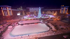 Christmas square with outdoor ice rink Stock Footage