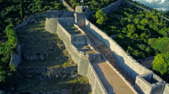 Ston west wall tower, aerial Stock Footage