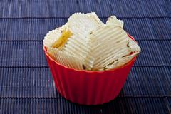 bowl of yummy chips - stock photo