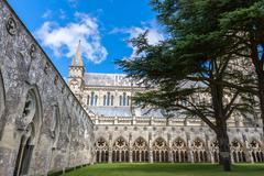 Salisbury cathedral from the cloister, wiltshire, england, uk Stock Photos