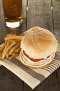 low fat burger fries and soda - stock photo