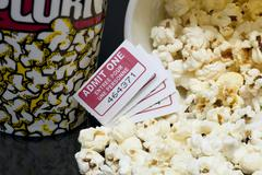 Macro movie pop corn with several tickets Stock Photos