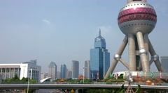 4K, UHD, Oriental Pearl Tower in Pudong District, Shanghai, China Stock Footage