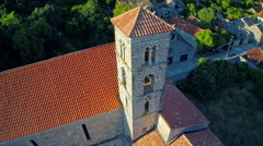 Ston church tower, aerial Stock Footage