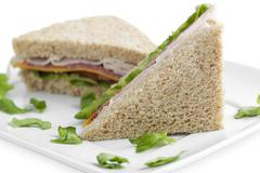 Slices of ham sandwich Stock Photos